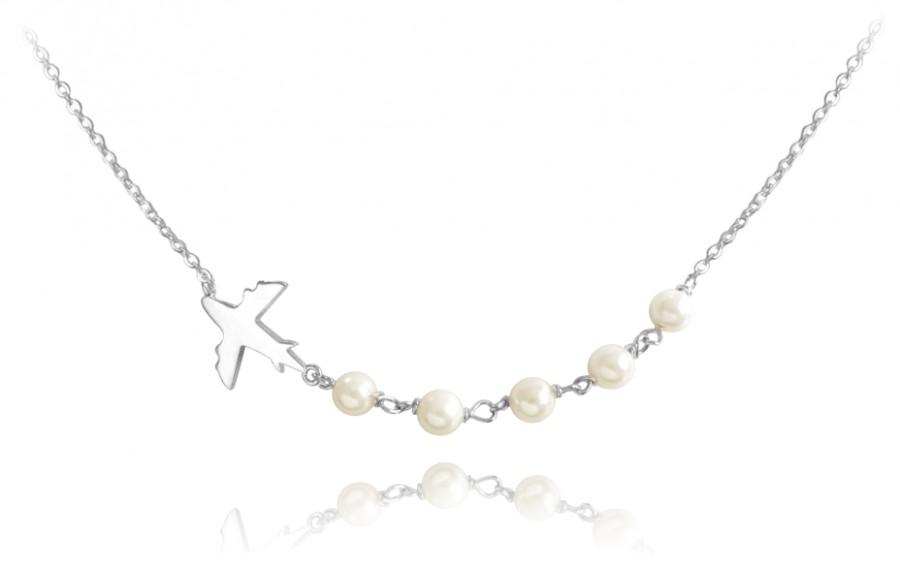 Cestovateľský strieborný náhrdelník lietadlo s perličkami - MINET ... ba0caa43255