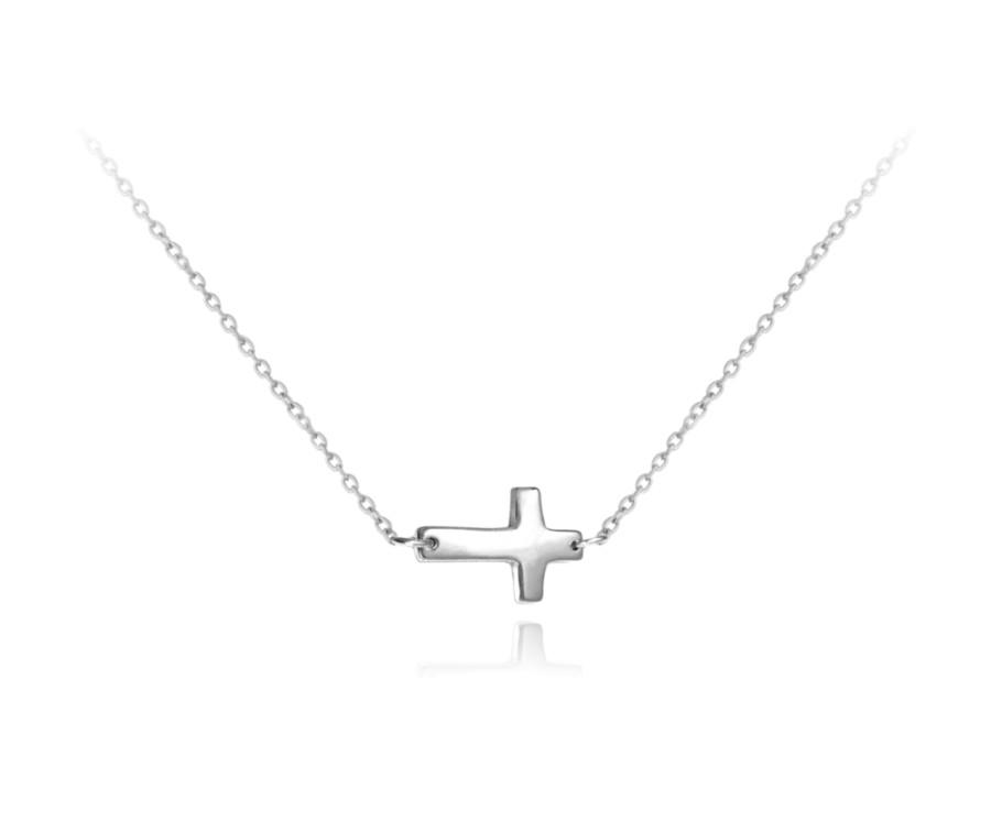 5cec6ff4f ... Strieborný náhrdelník ležatý krížik. MINET JMAS0022SN42 MINET  JMAS0022SN42