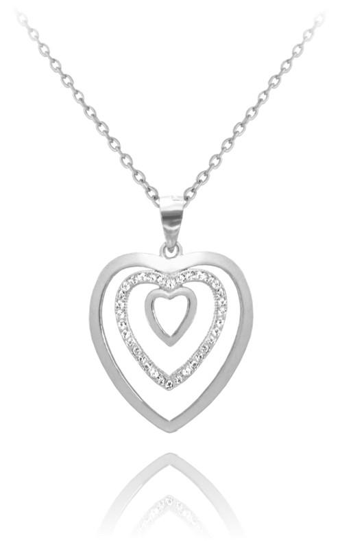 7735fee07 Strieborný náhrdelník srdce s čírymi zirkónmi - MINET JMAN0033SN45