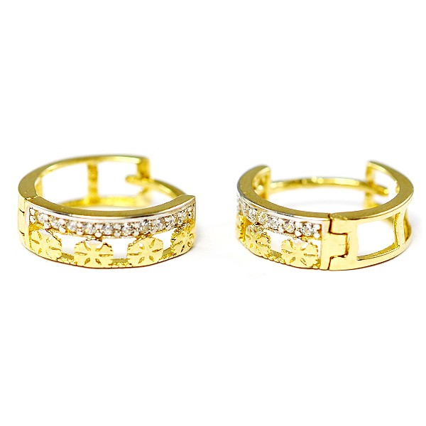 63ed05d3f ... Zlaté náušnice krúžky s kameňmi. N0104G N0104G