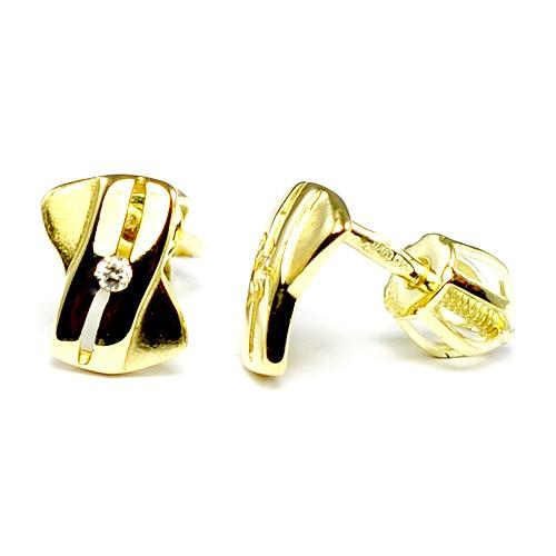a73567199 Zlaté náušnice s kameňom na skrutku - BR DLE/B162810XP1
