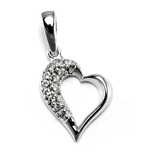 3befaf054 Zlatý prívesok srdce so zirkónmi z bieleho zlata - BR P0003S